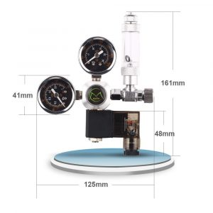 Mufan Dual Gauge Large Co2 Regulator With Solenoid & Bubble Counter