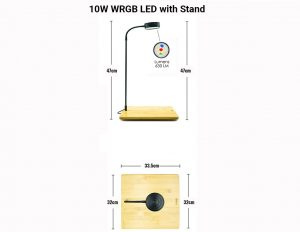 WRGB LED with Wooden Base - W and Lumens
